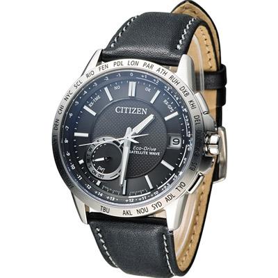 CITIZEN 星辰光動能感光衛星對時紳士腕錶(CC3001-01E)-黑/44.5mm