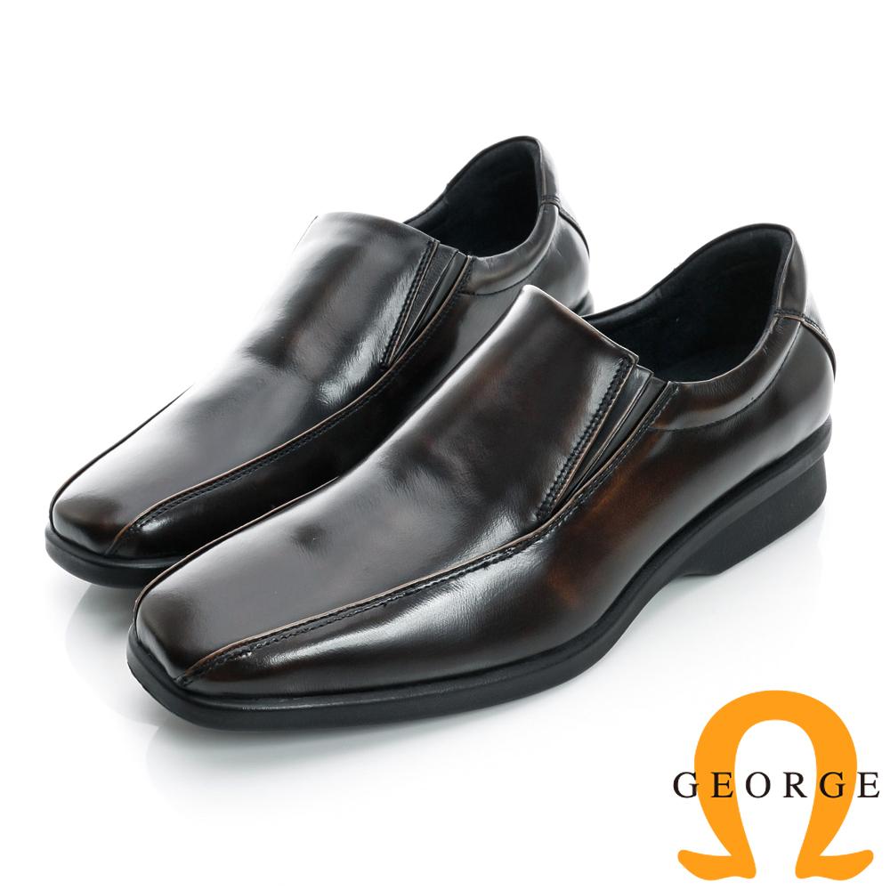 GEORGE-側V切口素面柔軟厚底真皮紳士方頭鞋-古銅色