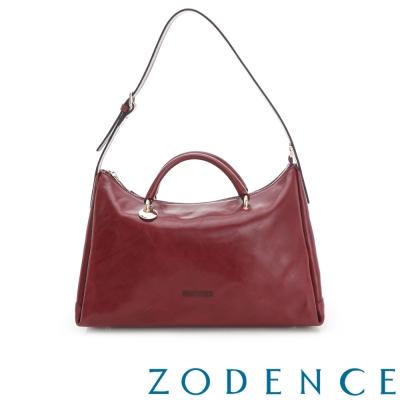 ZODENCE-彩色植鞣革系手挽兩用牛角包-紫