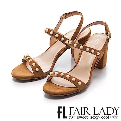 Fair Lady 優雅女伶繫帶珍珠高跟涼鞋 棕