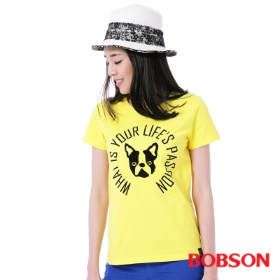 BOBSON  女款狗頭印圖上衣-黃色