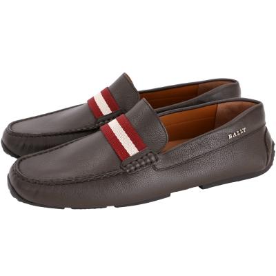 BALLY Pearce 經典織帶荔紋小牛皮樂褔鞋(咖啡色)