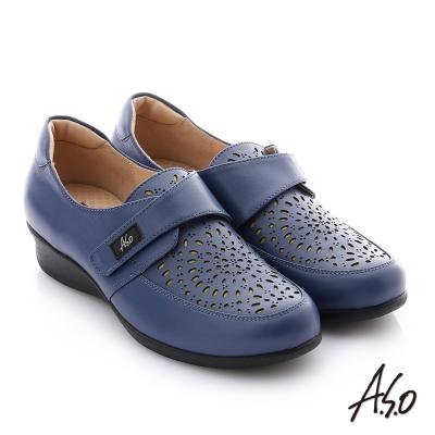 A.S.O 紓壓氣墊 牛皮魔鬼氈奈米休閒鞋 藍色