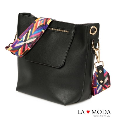 La Moda 超軟皮彩色拼接織帶多種揹法大容量子母包肩背斜背包(黑)
