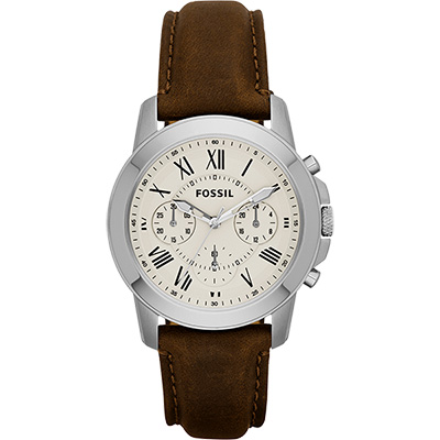 FOSSIL Grant 旗艦計時復刻腕錶-卡其x咖啡/38mm