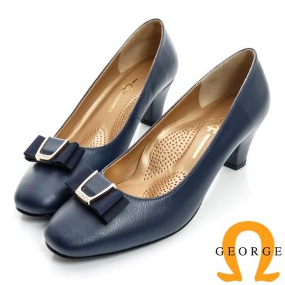 GEORGE-金屬水鑽蝴蝶飾扣方頭真皮中跟鞋-藍色