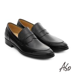 A.S.O 職人通勤 簡約全真皮直套式紳士皮鞋 黑色