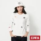 EDWIN 江戶勝家徽繡花長袖T恤-女-米白色