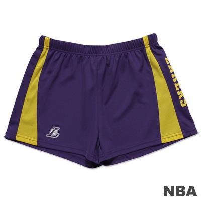 NBA-洛杉磯湖人隊拼接休閒短褲-紫黃-女