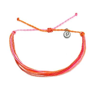Pura Vida 美國手工 POP OF PINK 粉橘色系可調式手鍊衝浪海灘防水手繩