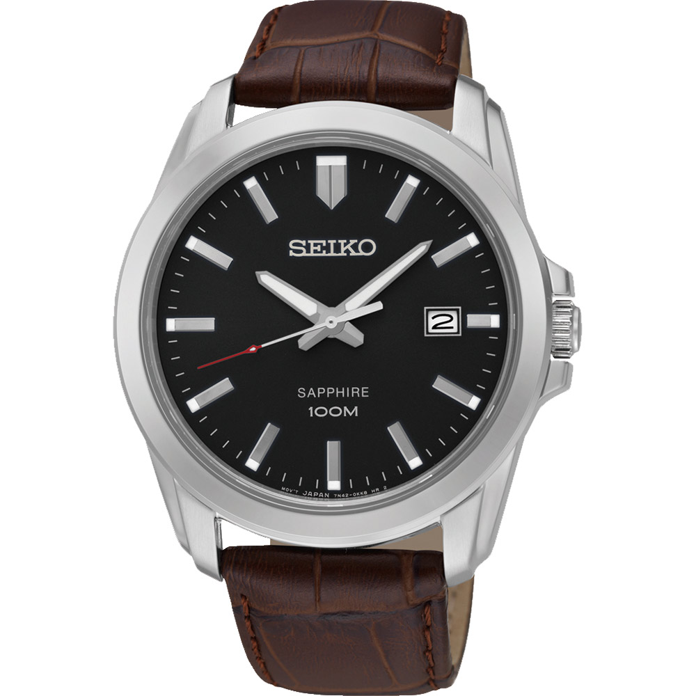 SEIKO CS系列大三針石英錶(SGEH49P2)-黑x咖啡色錶帶/41mm