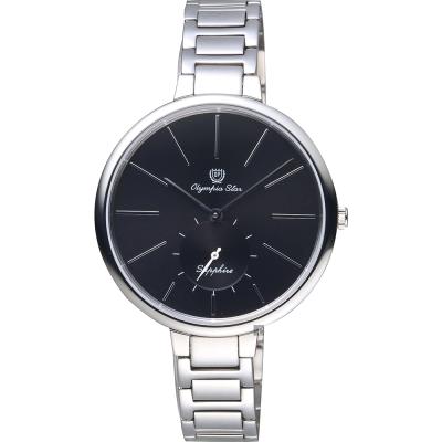 Olympia Star奧林比亞 超薄小秒針手錶-黑x銀/37mm