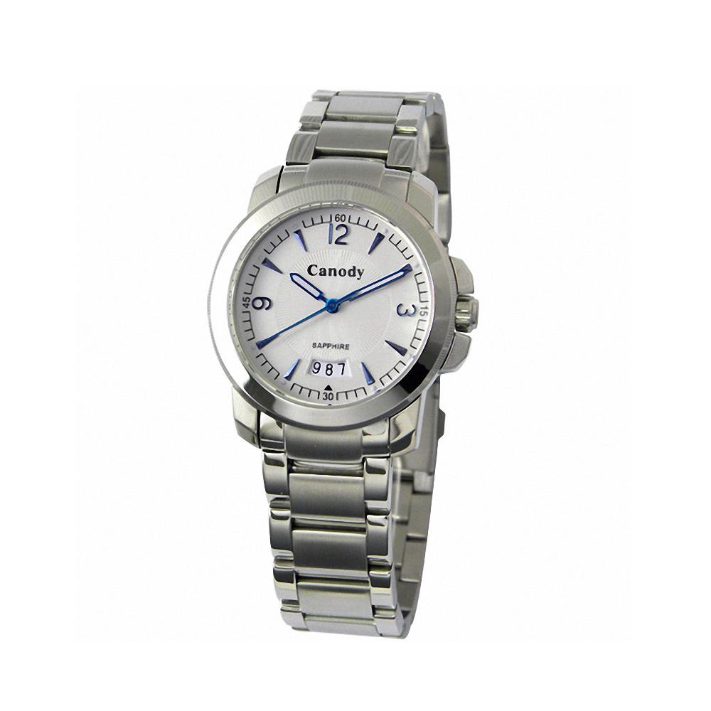 Canody 流轉時光藍寶石鏡面腕錶-白x藍針/小-33mm
