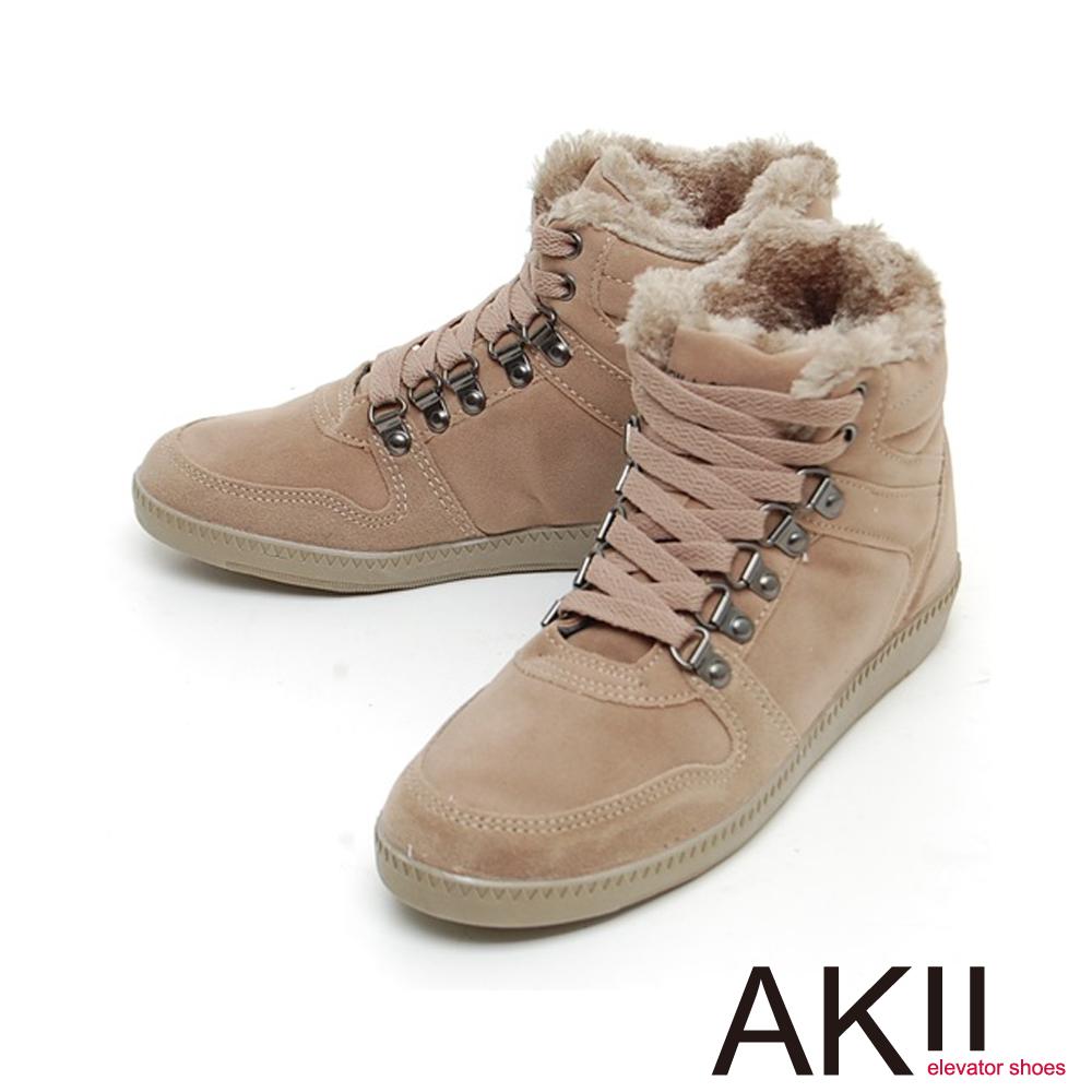 AKII韓國空運‧內裡柔軟厚毛毛造型扣環板鞋-卡其色