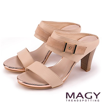 MAGY 時尚穿搭必備款 全真皮雙材質高跟涼拖鞋-米色