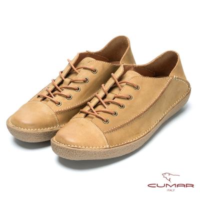 CUMAR 後踩系列 樂活休閒牛皮兩穿鞋-棕色