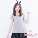 betty's貝蒂思 圓領短袖捲邊針織衫(亞麻灰)