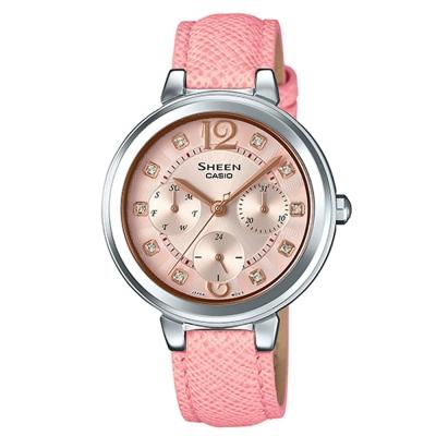 SHEEN 華麗之美水晶時刻皮帶腕錶(SHE-3048L-4A)-粉面X粉紅34m