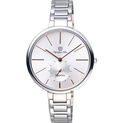 Olympia Star奧林比亞 超薄小秒針手錶-銀/37mm