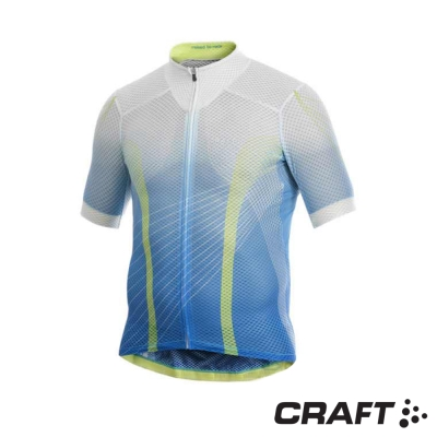 瑞典-Craft-男款-短袖ELITE-全網超輕自行車車衣-亮藍-白