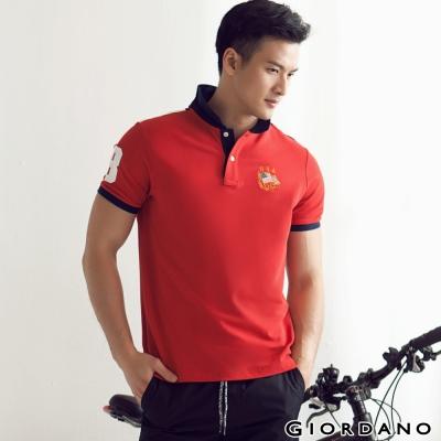 GIORDANO-男裝美式國旗彈性POLO衫-18
