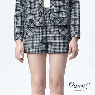 OUWEY歐薇-造型口袋格紋短褲