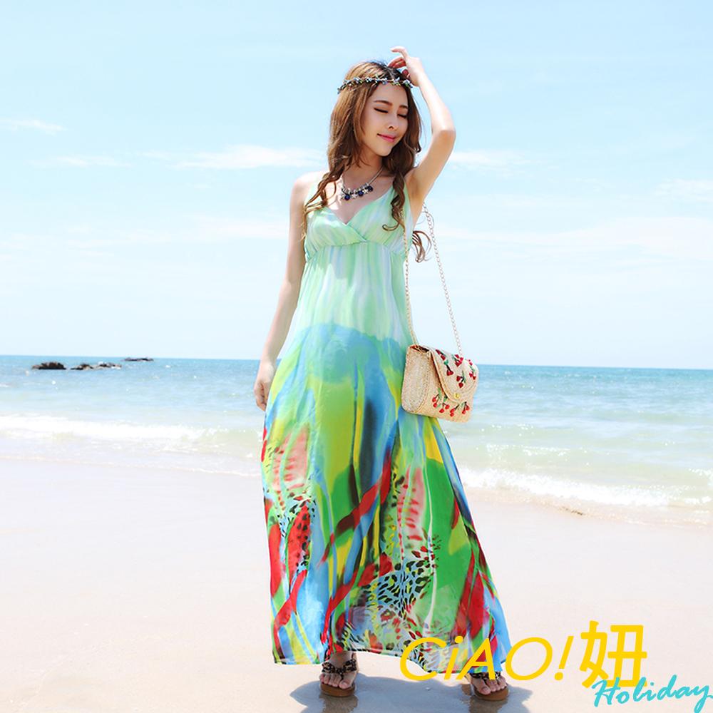 漸層彩色渲染吊帶V領連身裙 (綠色)-CIAO妞 Holiday