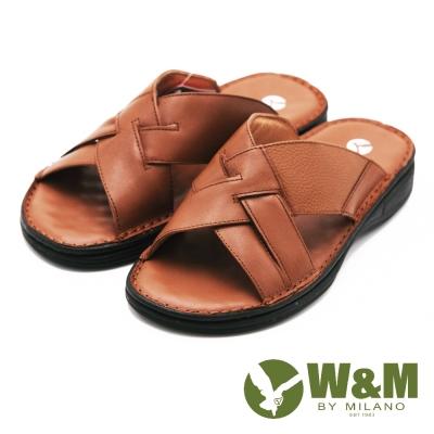 W&M 交叉寬帶 露齒涼鞋 男鞋-棕(另有黑)