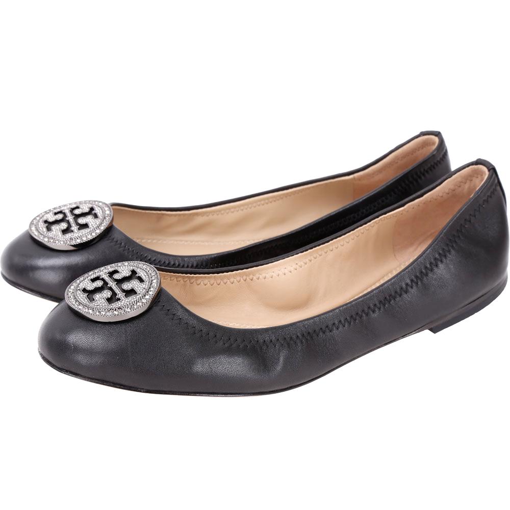 TORY BURCH Liana 鑽飾盾牌納帕皮革娃娃鞋(黑色)