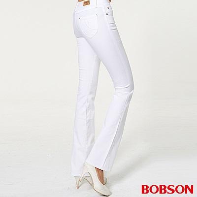 BOBSON 女款超低腰繡花伸縮小喇叭褲