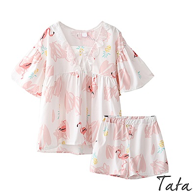 兩件式印花上衣加短褲家居服 TATA