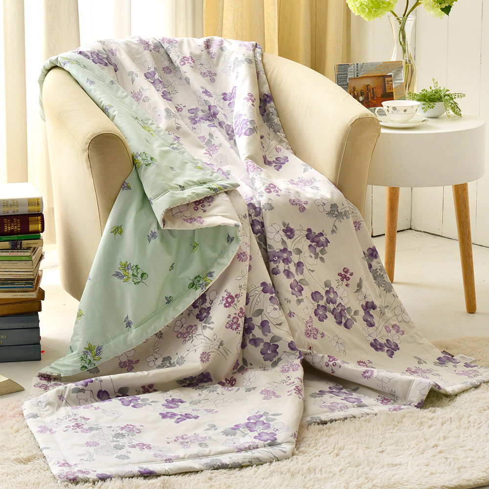 義大利La Belle 紫藤花開 純棉吸濕透氣涼被(5x6.5尺)