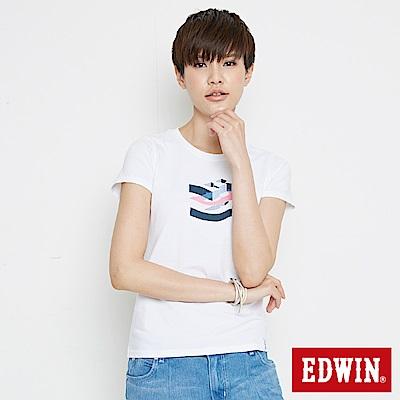EDWIN 立體字型印花短袖T恤-女-白色