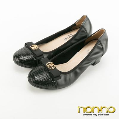 nonno-金屬扣環亮片低跟娃娃鞋-黑