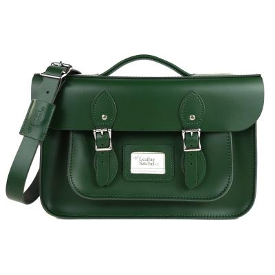 The Leather Satchel 英國手工牛皮劍橋包 肩背後背包 郵差綠 14吋