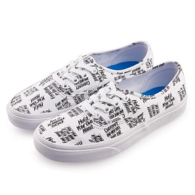 (女)VANS Authentic 英文字母圖騰綁帶休閒鞋*白色