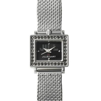 JILL STUART DECO MESH系列晶鑽方型腕錶-黑x黑鑽/19mm