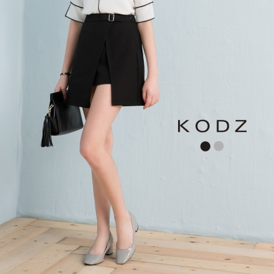 東京著衣-KODZ 極致質感金屬釦件開衩片短裙-S.M.L(共二色)