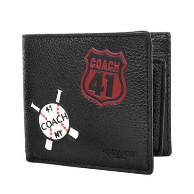 COACH黑色荔枝紋全皮美國旗棒球徽章二合一男夾/短夾