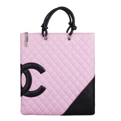 CHANEL 經典康朋系列造型羊皮雙C手提扁包(粉紅)-展示品