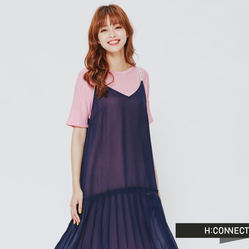 H:CONNECT 韓國品牌 女裝-細肩帶雪紡下百摺洋裝-深藍 - 動態show