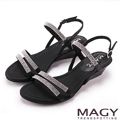 MAGY 優雅氣息 耀眼閃亮燙鑽楔型涼鞋-黑色