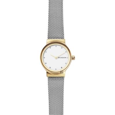 Skagen Freja 晶鑽米蘭帶女錶-銀x金框/25mm