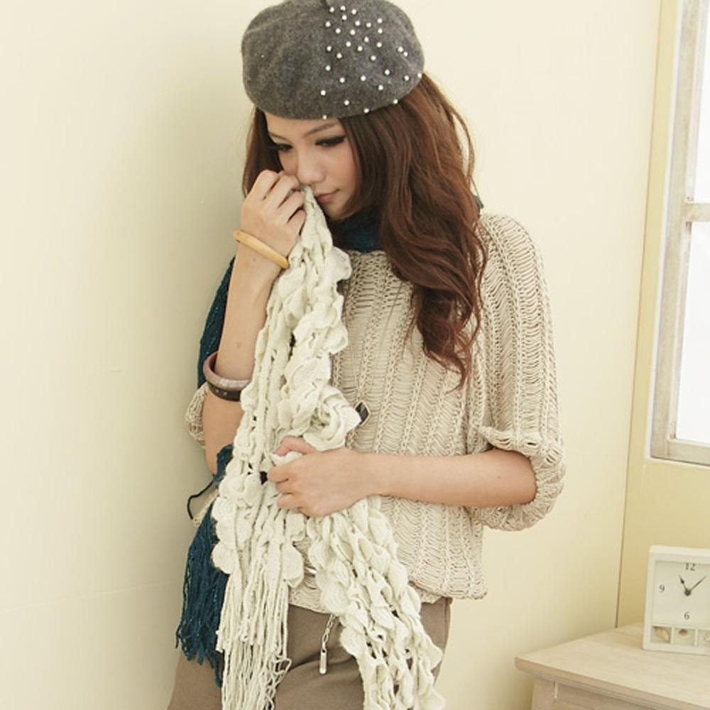 【I-shi】暖呼呼~毛線泡泡厚款圍巾(米色)
