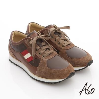 A.S.O 樂活休閒 絨面真皮雙色織帶奈米休閒鞋 茶