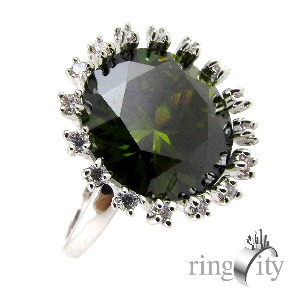 RingCity 祖母綠色圓形鋯石造型戒