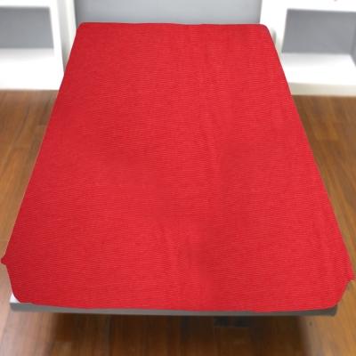 Yvonne Collection細條紋單人純棉床包-橘紅