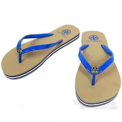TORY BURCH 條紋飾邊時尚沙灘夾腳拖(藍)