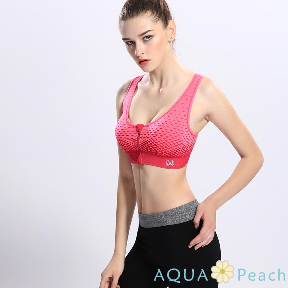 運動內衣 前拉鏈漸層變色花紋防震背心 (玫紅色)-AQUA Peach