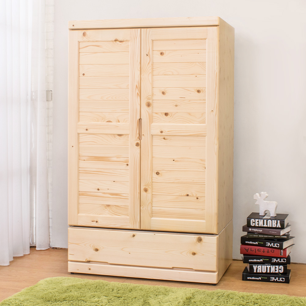 Boden-松木3尺二門單抽衣櫃-90x59x150cm